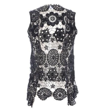 Clean Side Lace Vest (Anna-Kaci S/M Fit Black Floral Crochet Lace Pom Pom Fringe Trim Vest Cardigan )