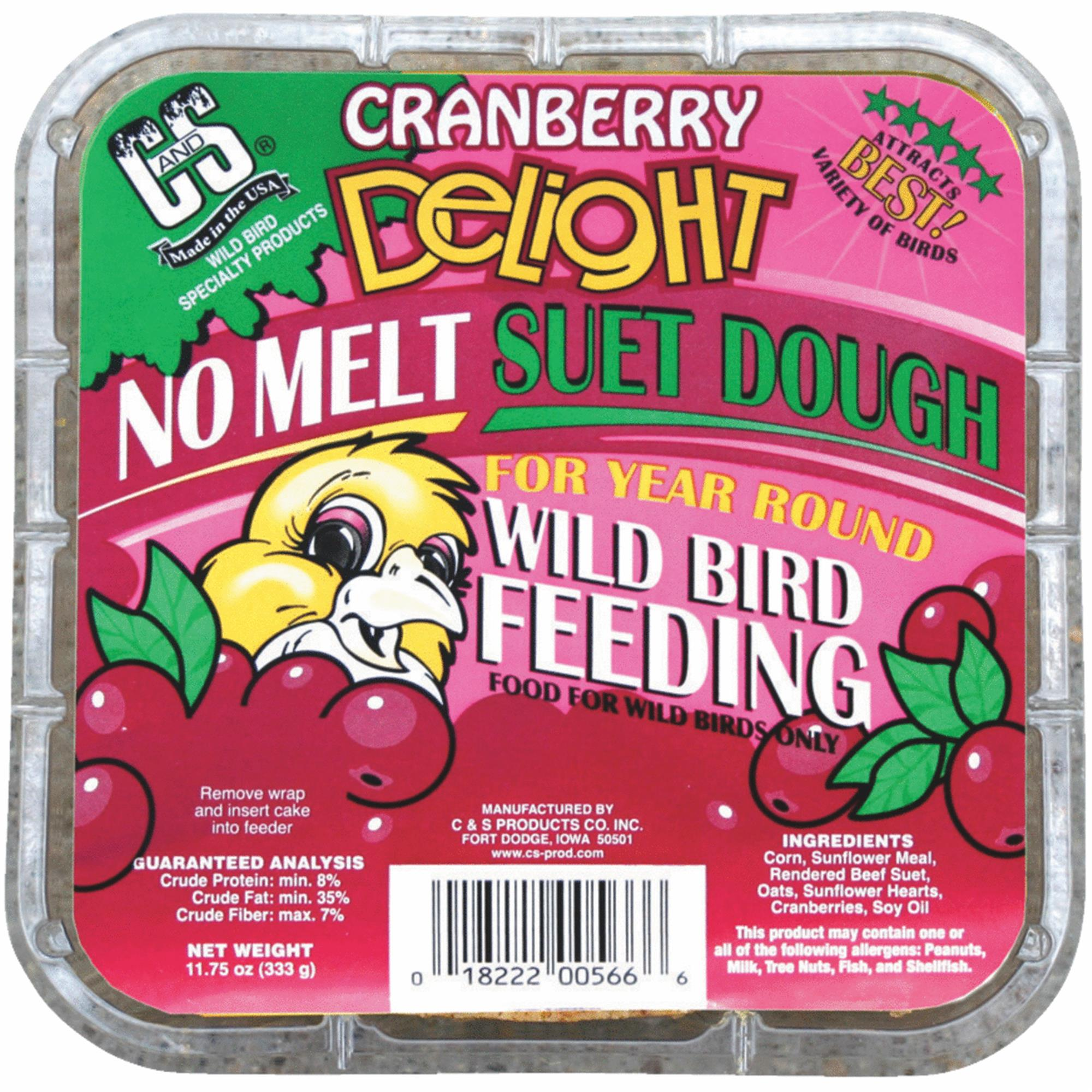 C & S PRODUCTS CO INC Wild Bird Suet Dough Cake, Cranberry Delight, 11.75-oz by C. & S. Prod.