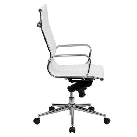 Bowery Hill High Back Ribbed Leather Office Chair in White - image 1 de 2