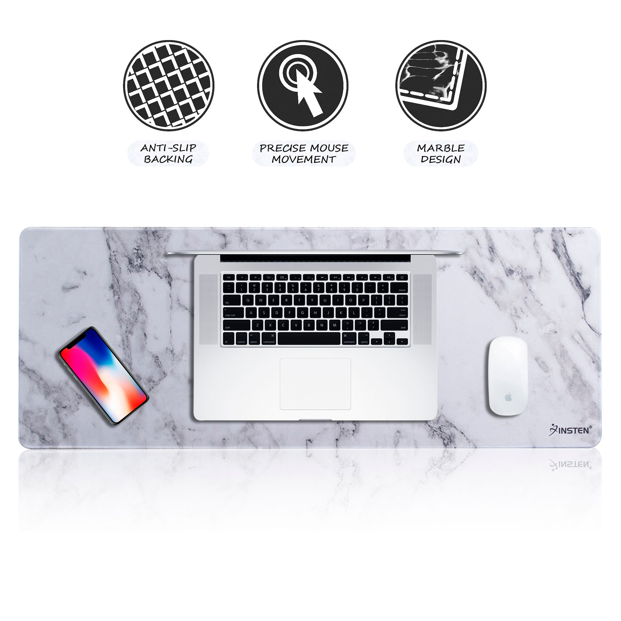 """Insten Extended Gaming Mouse Pad Marble Design Long Mat (Size: 31"""" x 12"""") with Low Friction Smooth Surface and Non-Slip Backing for Desktop Mouse Keyboard Laptop White"""