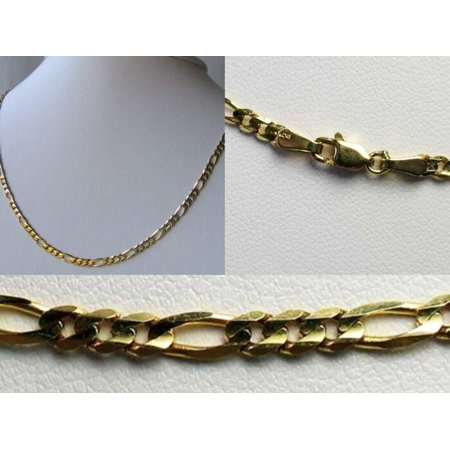 """Italian! 10K Gold Figaro Link Chain 16"""" Necklace 10018A"""