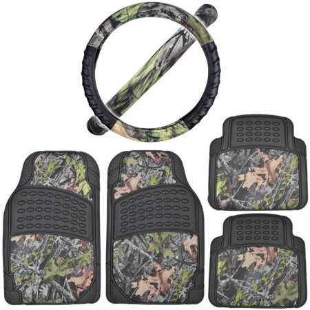 BDK Black/Camo Car Floor Mats with Cushion Grip Steering Wheel Cover (Car Mats That Cover The Whole Floor)