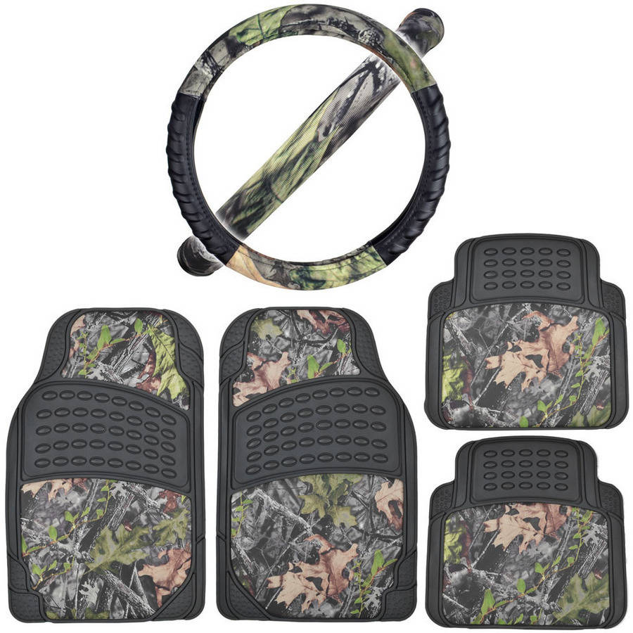 BDK Black/Camo Car Floor Mats with Cushion Grip Steering Wheel Cover Camouflage