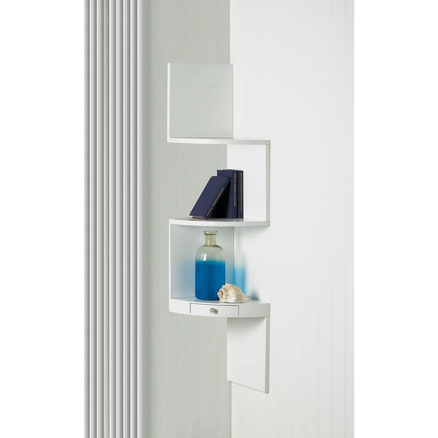 BSD National Supplies Weston White 3-Shelf Corner Wall Di...