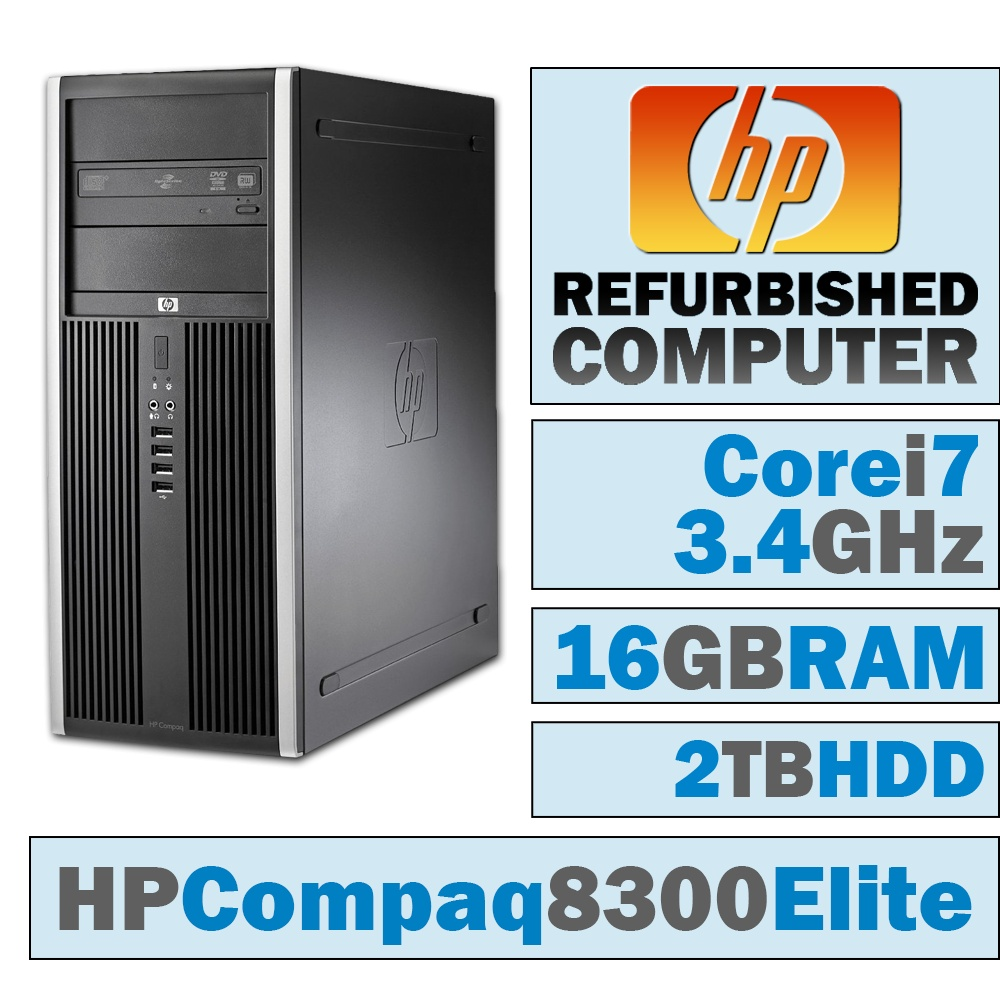 REFURBISHED HP Compaq Elite 8300 CMT/Core i7-3770 @ 3.4 GHz/16GB DDR3/2TB HDD/DVD-RW/WINDOWS 10 PRO 64 BIT