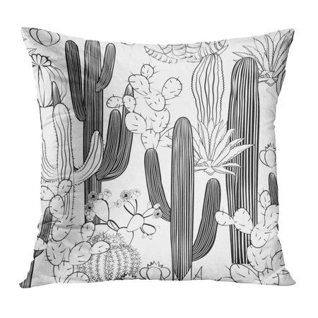 ECCOT Abstract Cactus Wild Cacti Forest Agave Beautiful Big Black Cartoon Pillowcase Pillow Cover Cushion Case 16x16 inch ()