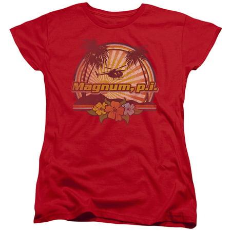Magnum Pi Hawaiian Sunset   S S Womens Tee   Red     Nbc240