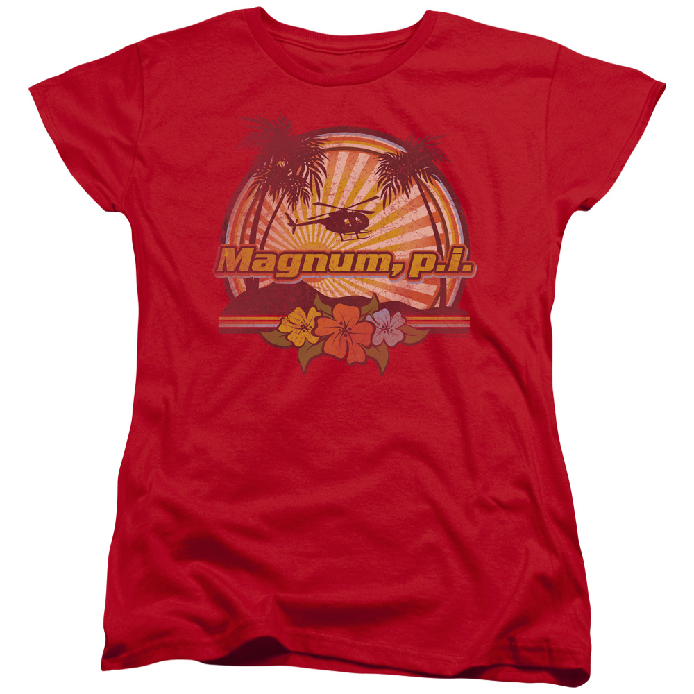 Magnum PI HawaIIan Sunset Womens Short Sleeve Shirt