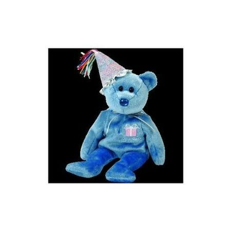 September Birthday / Sapphire Birthstone Beanie Baby Bear with Party Hat By Beanie - Beanie Babies Birthdays