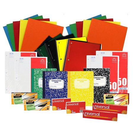 Back to School Pens, Pencils, Paper Supply Bundle Box (Wide Ruled) - School Supplys
