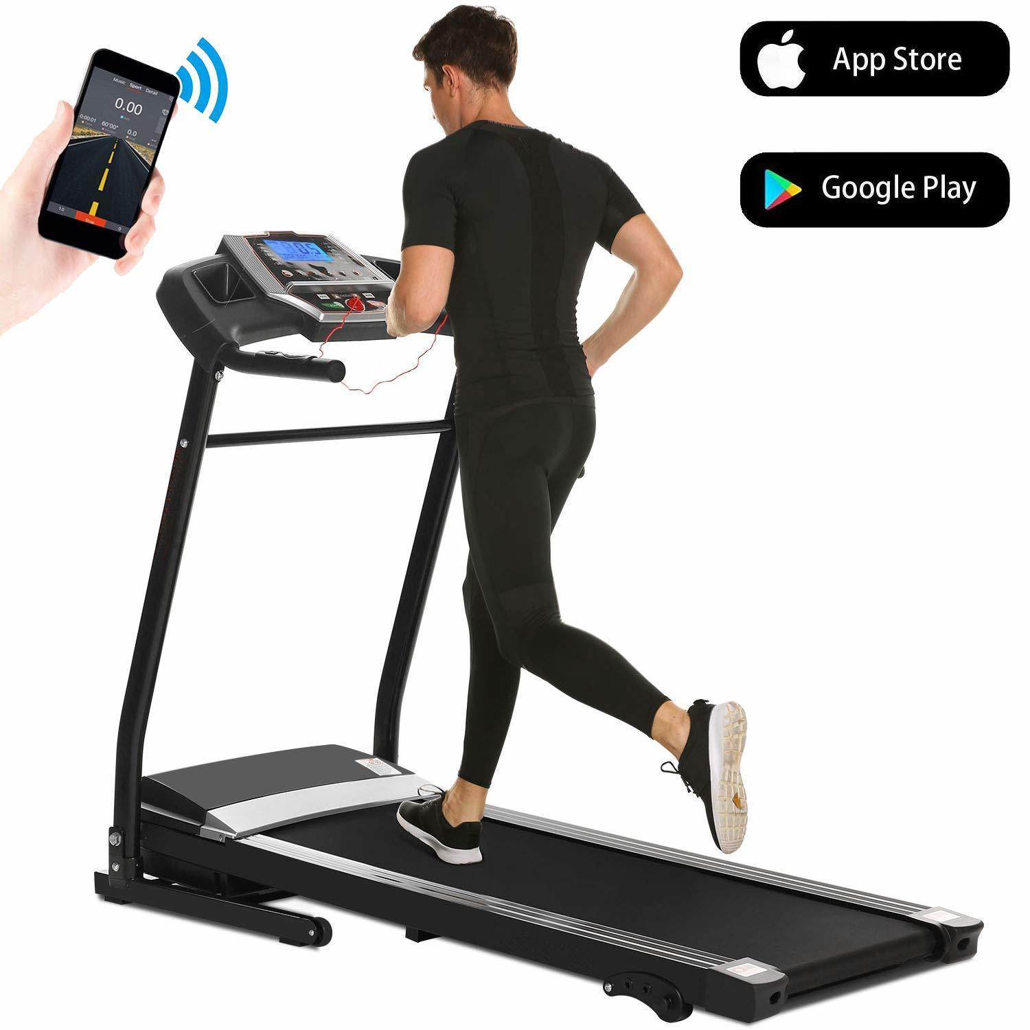 Folding Electric Treadmill Incline Motorized Power Fitness Running Machine Smartphone APP Control for Home Gym Exercise HFON