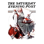 """Santa with Elves"""" Saturday Evening Post Cover, December 2,1922"""" Print Wall Art By Norman Rockwell"""