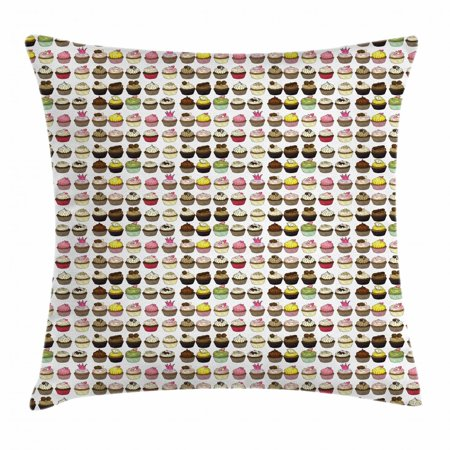 Cupcake Throw Pillow Cushion Cover, Chocolare Muffin Vanilla Cream Lemon Mocha Strawberry Flavors Bakery Pastry Theme, Decorative Square Accent Pillow Case, 18 X 18 Inches, Multicolor, by Ambesonne