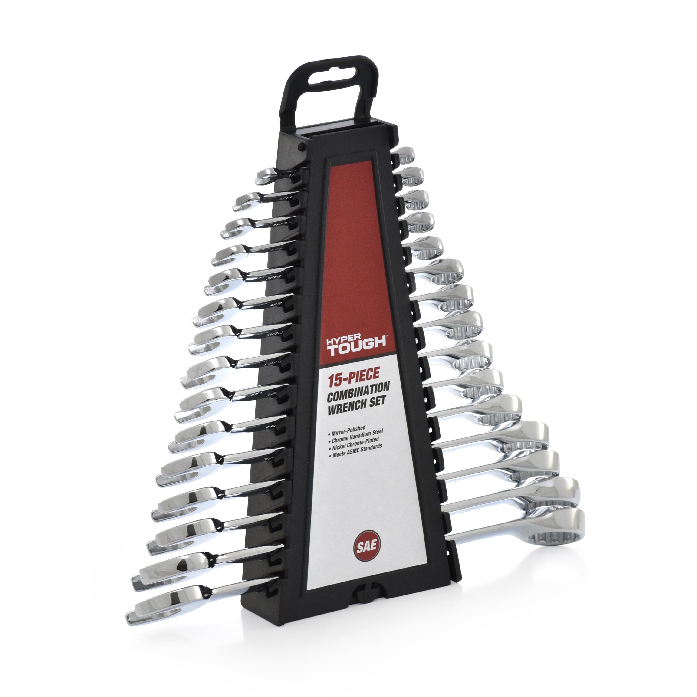 Hyper Tough 15-Piece Combination Wrench Set SAE