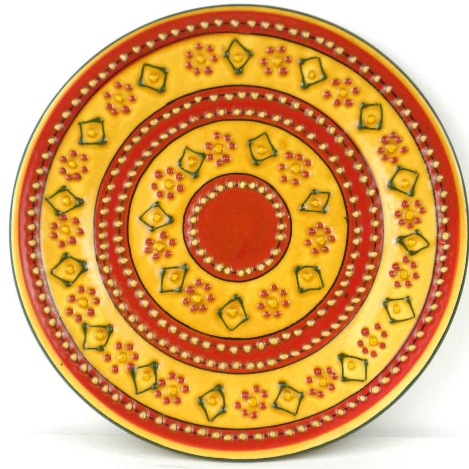 Hand-painted Round Plate in Red - Encantada