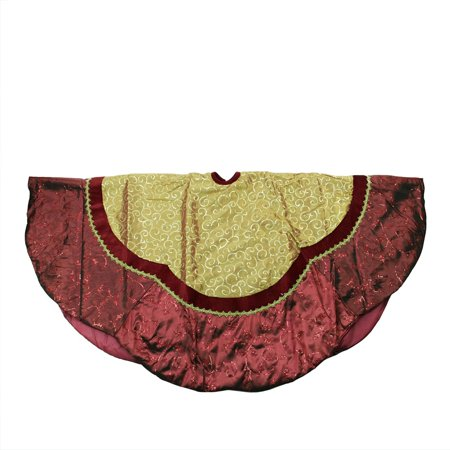 60 gold sequined and swirled christmas tree skirt with burgundy scalloped trim - Gold Christmas Tree Skirt