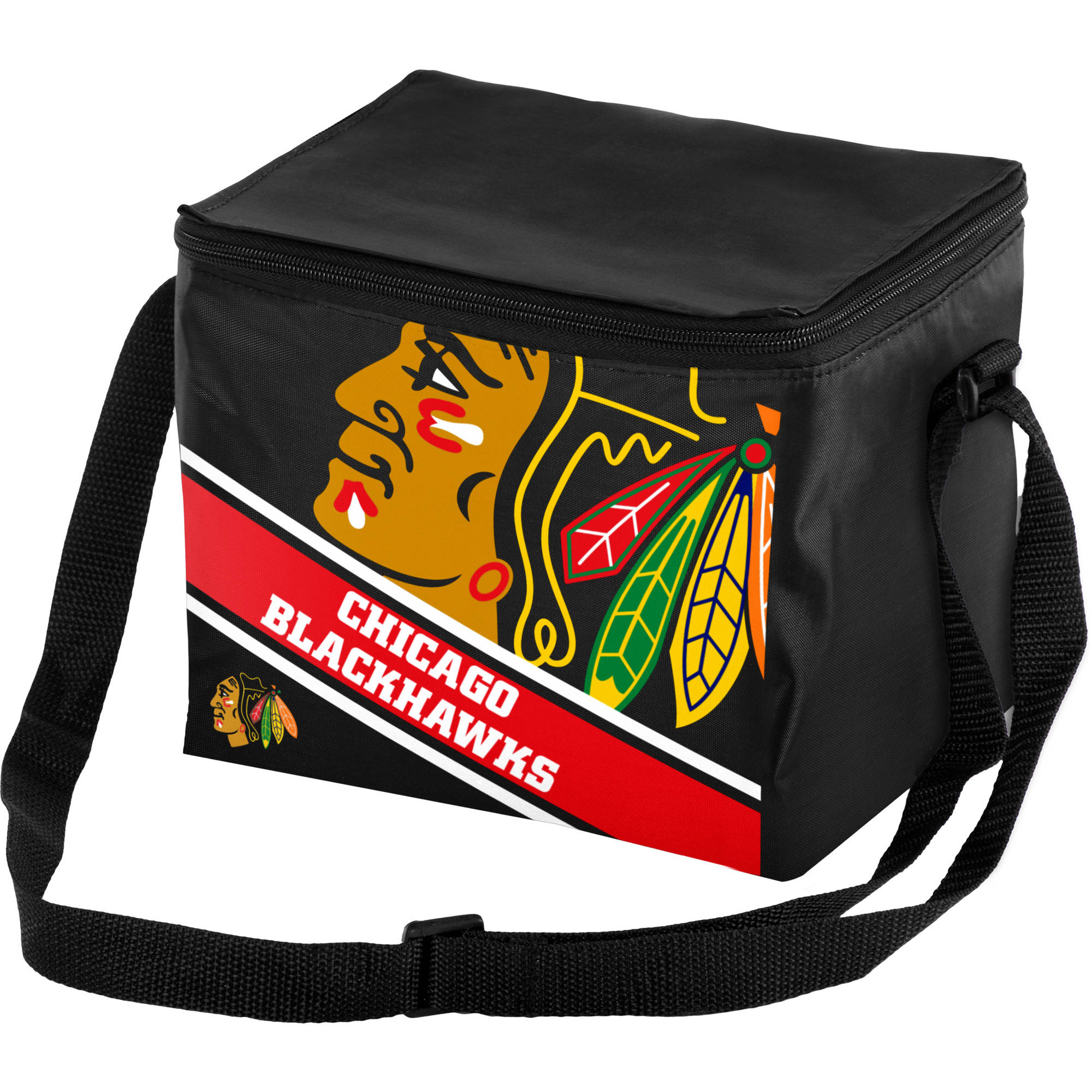 Forever Collectibles Big Logo Stripe 6 Pack Cooler, Chicago Blackhawks