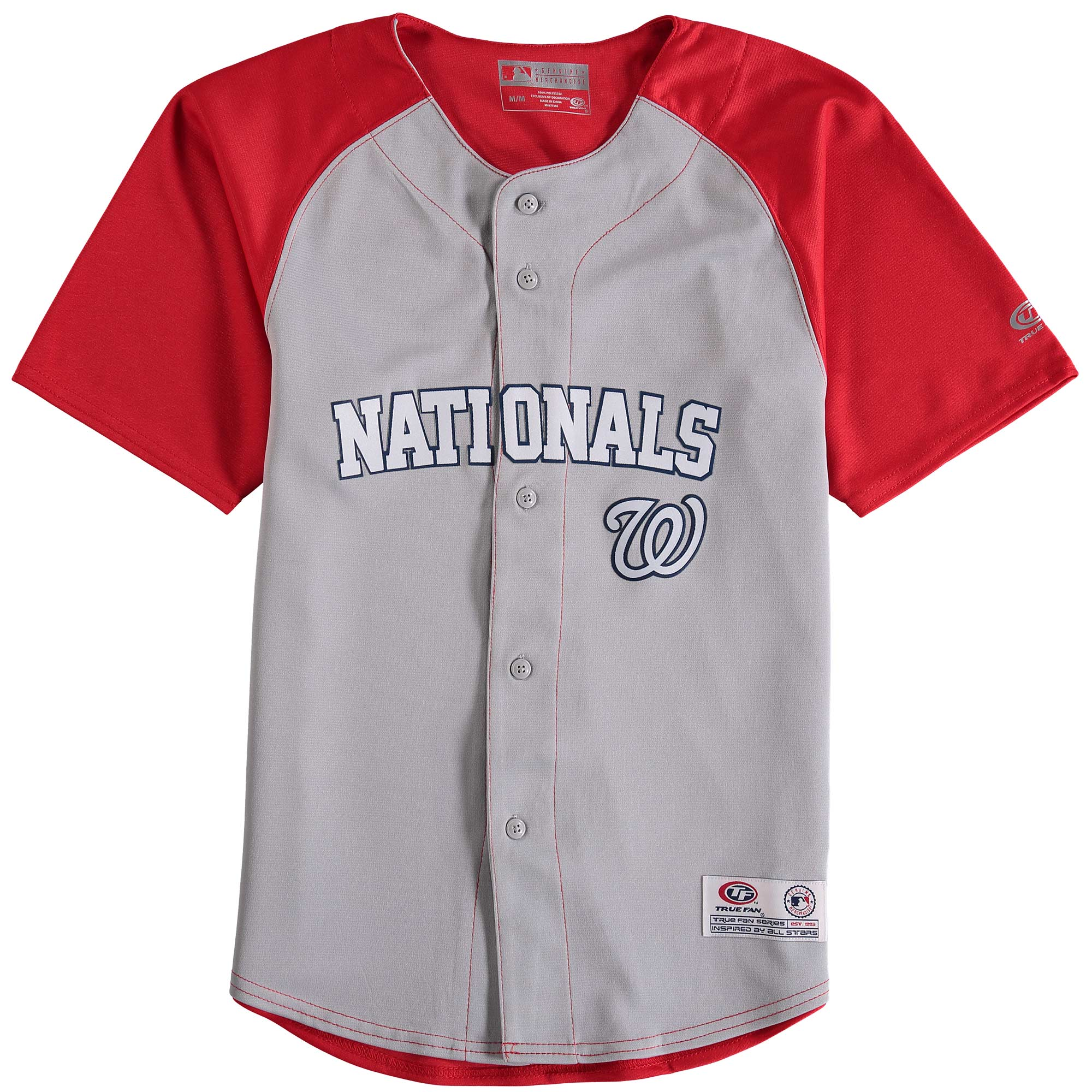 Washington Nationals Stitches Youth Double Play Jersey - Gray/Red