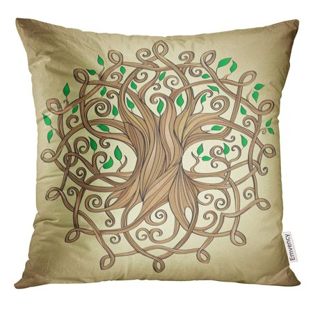 ARHOME Knot Amazing Tree of Life in The Celtic Pattern with Leaves Roots Pillow Case 18x18 Inches Pillowcase