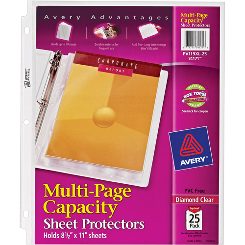 Avery Diamond Clear Multi-Page Capacity Sheet Protectors 74171, Acid Free, 25/Pack