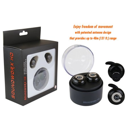 Long Receiving Range, 130 ft, True Wireless Earbuds, Bluetooth V4.1 with Mic and Charging Case by Soundworx