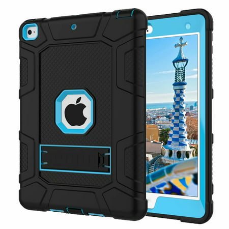 iPad 5th Gen Case,iPad 6th Gen Case, Dteck Shockproof Stand Kids Case Protective Cover For Apple iPad 5th 2017/6th 2018, Black / - Kids Cage
