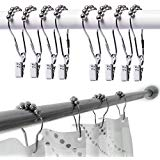 12 Silver Alien Face Stainless Steel Shower Curtain Hooks Its Forehead Has 5 Small Ball With 12 Silver Crocodi