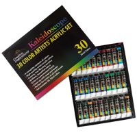 Kaleidoscope Professional Acrylic Paint Set Vivid Artist Array of 30 Rainbow Colors- Use on Canvas, Wood, Ceramic, Plaster- Non-Toxic, Smooth, and Rich Color Tubes (20ml) - 30 Piece Value Kit