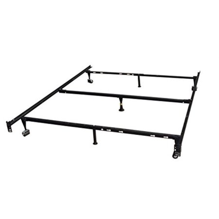 watch 3349b 34671 king's brand 7-leg heavy duty adjustIle metal queen size bed frame with  center support rug rollers and locking wheel
