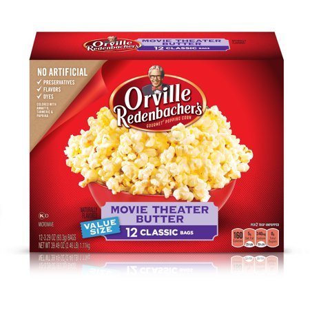 Orville Redenbacher's Movie Theater Butter Microwave Popcorn, 3.29 Ounce Classic Bag, 12-Count - Halloween Witch Hand Popcorn