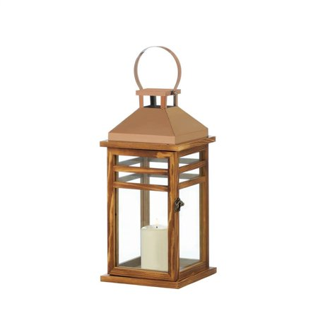 Wood Centerpiece (Candle Lantern Stand, Wood Contemporary Rose Gold Centerpiece Tabletop)