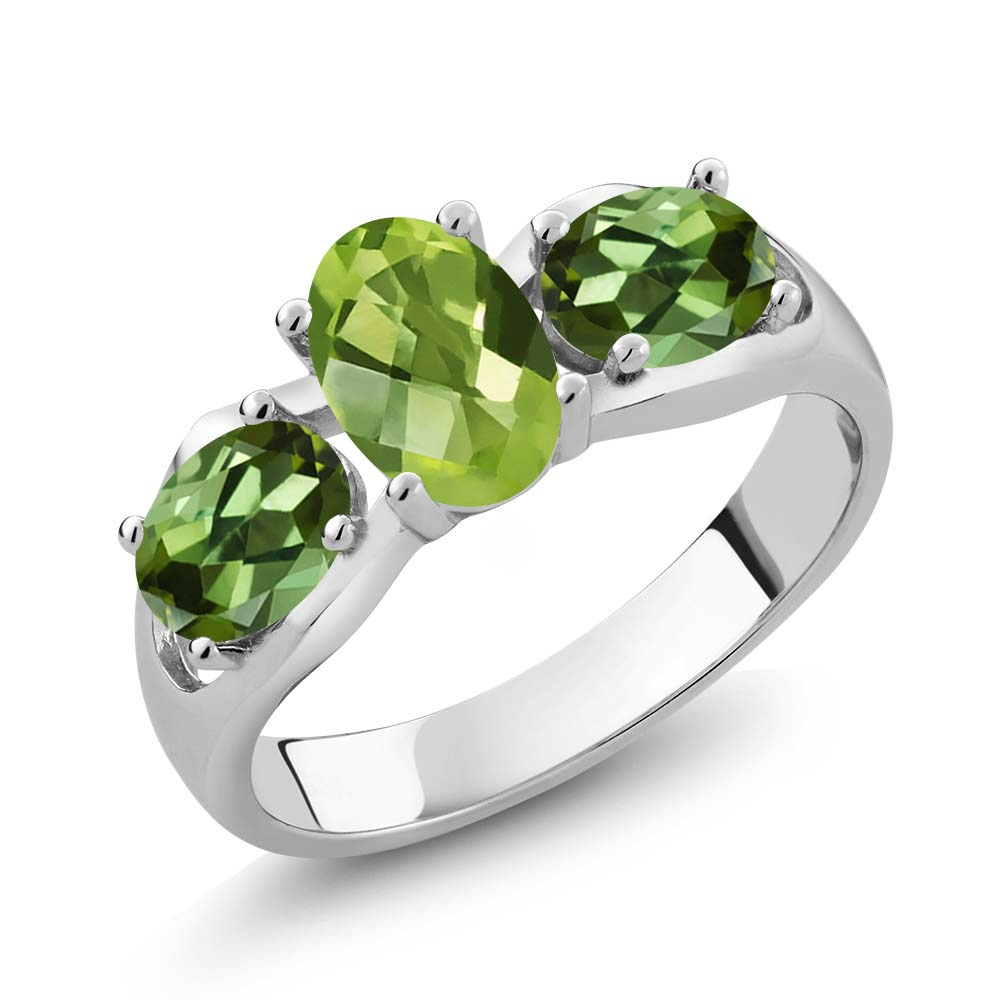 1.85 Ct Oval Checkerboard Green Peridot Green Tourmaline 14K White Gold Ring by