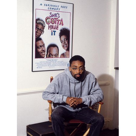 Filmmaker Spike Lee, Seated in Front of a Poster of His Film 'She's Gotta Have It', 1986 Print Wall Art By Vandell