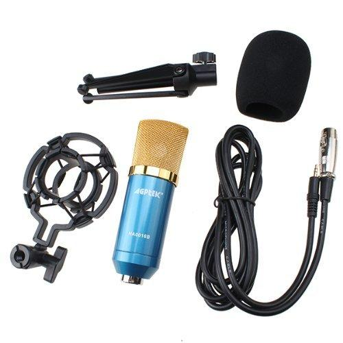 AGPtek Blue Condenser Sound Studio Recording Microphone Mic Dynamic +Shock Mount New