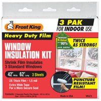 "Frost King V83/3 Heavy Duty Shrink Window Kit for Standard Size Windows with 3 Sheets (3 Pack), 42"" x 62"""