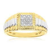 Oneofakindjewelry 10k Solid Yellow Gold Men's Diamond Step-like Ring