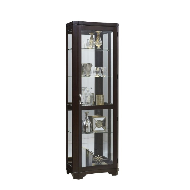 Pulaski Sable Concave Front Mirrored Curio in Brown