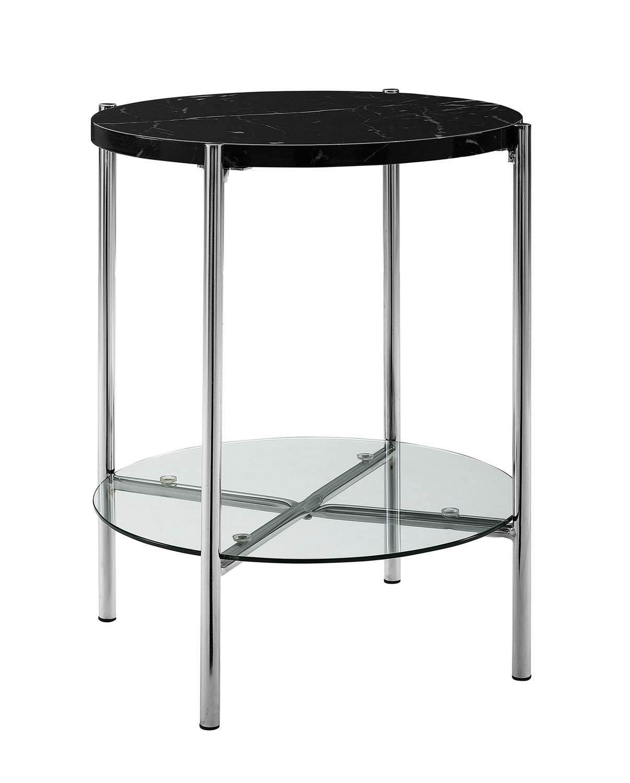 Priya Home Furniture 20 Round Side Table Black Marble Top Glass Shelf Chrome Legs Walmart Com Walmart Com