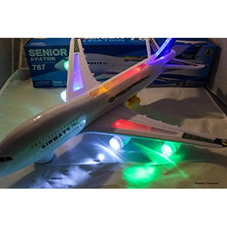 """18.5"""" Bump And Go Electric Boeing 787 Kids Action Airplane Airliner - Plane Lights UP and Sounds - Changes Direction On Contact - Best For Kids Age 2 And Up"""