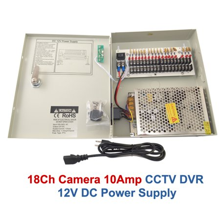 EVERTECH 18 Channel Port 12V DC 10 Amp Amper UL Listed with PTC Fuse Distributed Power Supply Box for CCTV DVR Security System and Camera or cameras ()
