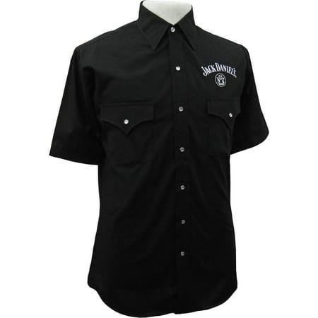 Jack Daniels Men's Daniel's Solid Logo Short Sleeve Shirt - - Jack Daniels Shirt In Store