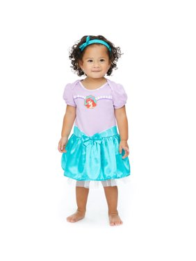 Disney Little Mermaid Ariel Baby Girls Costume Bodysuit Dress Headband 0-6 Months