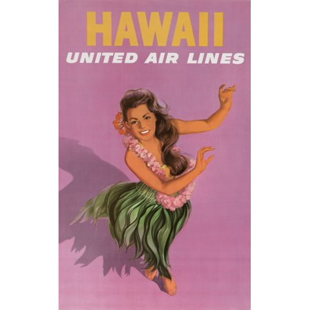 Vintage Travel Hawaii Hula Girl United Air Lines Purple Canvas Art -  (18 x 24)