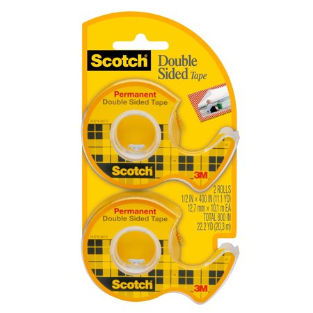 Scotch Double Sided Tape Dispensers Permanent Clear 1 2