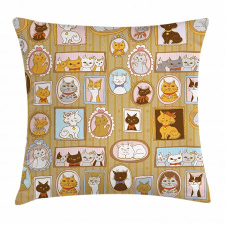 Cat Throw Pillow Cushion Cover, Family Tree of A Kitty with Portraits Domestic Feline Characters Gallery Humor Design, Decorative Square Accent Pillow Case, 16 X 16 Inches, Multicolor, by Ambesonne ()