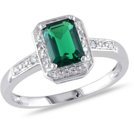 Created Emerald Ring (7/8 Carat T.G.W. Created Emerald and Diamond-Accent Sterling Silver Halo Ring)