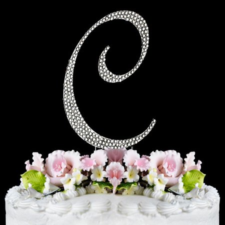 Yacanna Crystal Covered Monogram Cake Toppers Silver Cake Initial C - Crystal Letter Cake Toppers