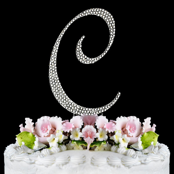 Yacanna Crystal Covered Monogram Cake Toppers Silver Cake Initial C Large