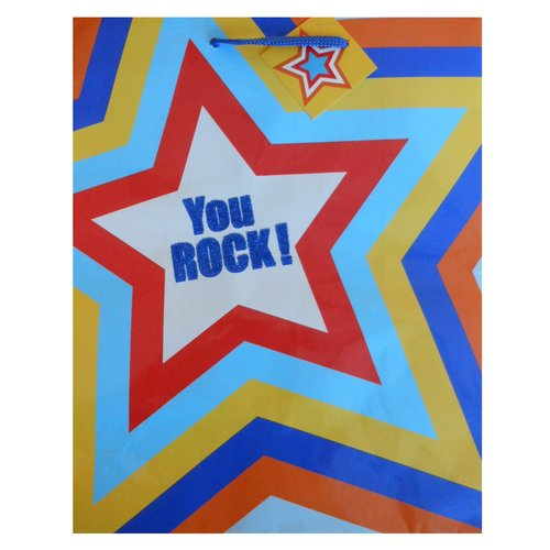 "Berwick Offray ""You Rock"" Gift Bag, Large"