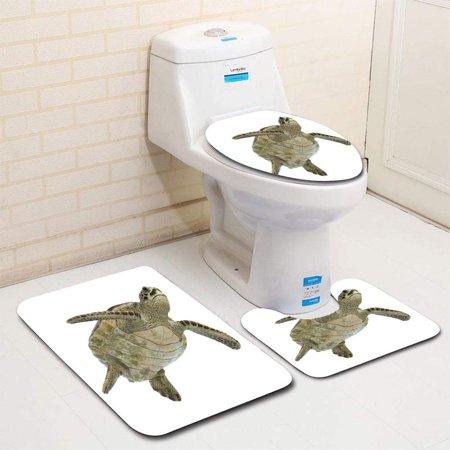 GOHAO Sea Turtle Isolated 3 Piece Bathroom Rugs Set Bath Rug Contour Mat and Toilet Lid Cover ()